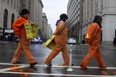 Hundreds protest on 10th anniversary of Guantanamo prison (Oliver Contreras) Tags: dc washington protest guantanamo inmates