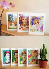 Handmade Cards (Milagritos9) Tags: paintings cherub guardianangel etsy handmadecards fridakahloportrait illustratedcards cardsbirds fridakahlohandmadecards angelshandmadecards