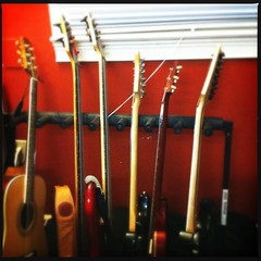 Arrangement of Guitars (ibkc) Tags: stilllife guitar squareformat loftus iphone4 iphonephotography iphoneography hipstamatic smartphonephotopgraphy