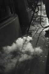 Steaming the streets (Jack Cullimore) Tags: work evening pavement steam oxford chewinggum