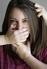 Impact (Lou Bert) Tags: portrait woman girl self mouth hair neck pull three hands strangle gag