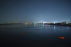 Reflecting the city... (Vihang Panchal) Tags: ocean city blue sky india lake water river lights colorful bluesky colourful surat suratcity