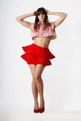... (Ágata Caroline) Tags: red brazil anna sexy girl fashion brasil pose hair studio luiza nikon legs body curt beatiful gazzola d80 amazign