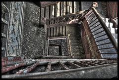 Into The Depths of Decay (RiddimRyder) Tags: ontario abandoned industry beauty stairs canon peeling industrial factory decay urbanexploration firestone abandonment hdr crumbling urbex riddimryder
