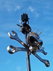 Skull + Xbones (real ramona) Tags: sculpture festival metal skull olympus pirate e1 spikes crossbones wrench spanners shambala zuikodigital1454mm