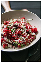 raw beets pasta (p o n z u) Tags: lunch raw pasta beetroot sprout