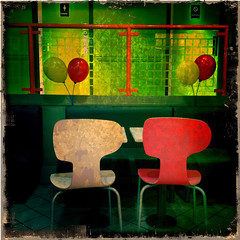 Breakfast Time in McDonalds (davemason) Tags: colour balloons chairs mcdonalds iphone eltham se9