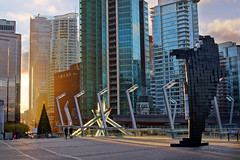 Vancouver City Skyline at Convention Centre (TOTORORO.RORO) Tags: xmas city sunset canada color tree colors skyline vancouver 35mm lens evening bc sam britishcolumbia sony christmastree alpha f18 hdr olympictorch nex greatervancouver vancouverconventioncentre olympiccauldron mirrorless digitalorca nex5 sal35f18