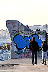 walking together (dimitra_milaiou) Tags: life street city blue friends sea 2 two people color colour art smile architecture walking greek happy graffiti design town nikon couple europe handmade d walk joy hellas happiness athens greece together 90 athina dimitra d90  faliro   palaio     milaiou