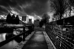 Ferrybridge canal (quickshiftpix) Tags: longexposure blackandwhite river canal wind lock windy powerstation hdr coolingtowers canallock movingclouds ferrybridgepowerstation blackandwhitehdr