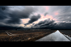 Into the Storm (jos) Tags: street longexposure sky panorama storm tarmac clouds rural outdoors dawn wind availablelight wideangle panoramic adventure rainy fields f22 12mm tonemapping rhinelandgermany canoneos5dmarkii sigma1224exdghsm skycreative