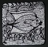 Zentangles (Out On A Whim) Tags: fish art watercolor blackwhite drawing outback doodles coasters doodling penandink penink zentangle