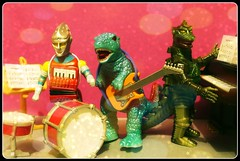 Fun in the music room (R D L) Tags: music monster guitar families piano instruments picnik kaiju jetjaguar mechagodzilla gorosaurus sylanvian