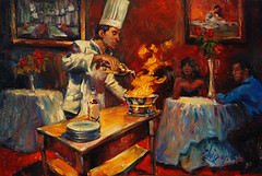 Fosters Flambe (Exclusive Collections Gallery) Tags: food art artist wine sandiego originalart fineart artshow culinary oilpainting foodie chefs christopherm ecgallery exclusivecollections painterofchefs