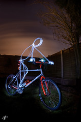 marin lite (sherlylock) Tags: light mountain bike bicycle pine night painting photography nikon long exposure marin retro led fisheye 8mm samyang flickrdiamond d7000