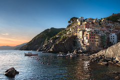 The Beauty Of Surrender - (Riomaggiore, Cinque Terre, Italy) (blame_the_monkey) Tags: travel sunset italy mountains water architecture reflections landscape europe cinqueterre portfolio hdr riomaggiore
