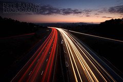 Motorway Traffic (Pete Barnes Photography) Tags: longexposure travel sky colour cars night work lights highway break traffic motorway busy lane commute late lighttrail conjestion