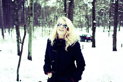 Snow forest (Eric Majoor) Tags: winter white snow cold netherlands girl beautiful forest canon glasses lomo woods utrecht 28mm sneeuw nederland freezing blond usm bos    ef   soest    canon28mm 450d canon450d