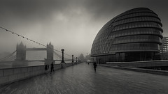 back and forth (vulture labs) Tags: blackandwhite bw london monochrome fog architecture clouds towerbridge cityscape monochromatic cityoflondon morelondon bwlondon vulturelabs