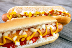 (bvpicsam) Tags: food dog hot dogs bread wooden hotdog ketchup fastfood sausage fast snack mustard onion bun frankfurter