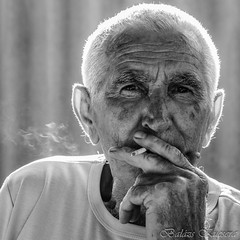 Papa-1 (balazskucsera) Tags: old white black eye monochrome nikon cigarette grandfather papa balzs d7000 kucsera