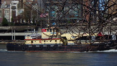 A Very Brisk Walk on Roosevelt Island, Along East River with Boat - IMGP4172 (catchesthelight) Tags: building industrial manhattan bluesky views eastriver tugboat benches rooseveltisland newyorkcityny springvisit april2016