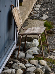 Somewhere to Rest My Weary Bones (Steve Taylor (Photography)) Tags: rock metal stone concrete chair seat canterbury nz worn southisland weathered southernalps plywood