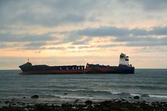 Stranded cargo ship : broken apart    T. S.  LINES : New Taipei City, Taiwan (Go Go Janet) Tags: sunset broken taiwan documentaryphotography newtaipeicity
