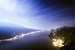 Aurora lunare (borys.radchenko) Tags: sky moon mountain night lago garda luna aurora punta montagna larici