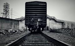 SICK OF MODERN ART (BLACK VOMIT) Tags: life railroad car train river james virginia box rear tracks device richmond va fred end boxcar flashing freight rva floodwall lotj