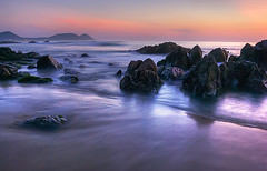 The Golden hour (v_2shaib) Tags: sunset lake seascape sunrise landscape fisherman nikon rocks vizag visakhapatnam