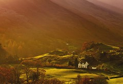 Autumn Light in Little Langdale (Explored) (Steve Thompson images) Tags: autumn light mountains landscape cottage lakedistrict valley cumbria langdale wrynosepass canon70200l littlelangdale polarisingfilter ndgradfilter canon5dmark2 littlelangdalevalley