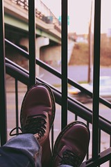 (Snippets Of Serenity) Tags: city blur car stairs canon fence rebel gate sitting boots maroon jeans drmartens docmartens t2i
