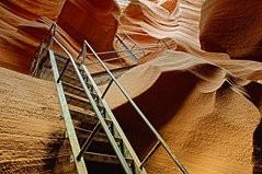 Incline (dbushue) Tags: nature landscape sandstone scenery tour native canyon erosion ladder exit navajo incline slotcanyon striations rungs 2011 pagearizona coth supershot itsawonderfulworld lowerantelopecanyon damniwishidtakenthat