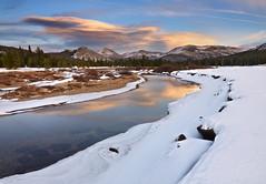 Tuolumne Tundra - Yosemite National Park (Joshua Cripps) Tags: winter sunset reflection yosemitenationalpark tuolumnemeadows lembertdome tuolumneriver lenticularclouds