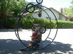 Father and #2 son Sam in inverted German Wheel (with road cycle(cart) above) (whymcycles) Tags: bike bicycle sam recycled tricycle rad bikes kinetic bici trike bigwheel bicyclette velo fahrrad whimsical roue tallbike pushbike kineticsculpturerace ksr roues handcycle germanwheel whymcycle peterwmwagner rhonrad handpedal armpower handpedalled armpowered gymnasticswheel