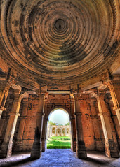 Inside the mosque (Bhaskar Dutta) Tags: world blue sky india heritage vertical stone site shot muslim unesco ami dome hindu hdr masjid gujarat intricate curving champaner sigma1020