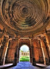 Inside the mosque (Bhaskar Dutta) Tags: world blue sky india heritage vertical stone site shot muslim unesco ami dome hindu hdr masjid gujarat intricate curving champaner sigma1020