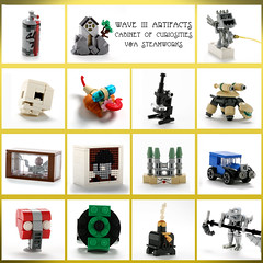 Wave III Artifacts from the Cabinet of Curiosities (V&A Steamworks) Tags: lego cabinet va steamworks artifact curiosities artifacts curio steampunk moc