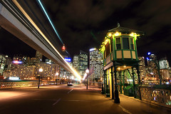 Darling harbour (Eddy.H) Tags: city travel motion night work lights long exposure shot angle harbour wide sydney cities australia blurred tokina monorail capture darling eddh lih 2011 eedh