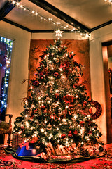 Merry Christmas (Kilkennycat) Tags: christmas holiday tree glitter canon gold lights sparkle ornament hdr 500d t1i