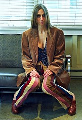 Jessica Wears Stripes 1 (neohypofilms) Tags: wild portrait cute slr classic film colors girl fashion female 35mm vintage pose hair fun photography 50mm wooden crazy glamour nikon raw colours fuji legs sweet stripes cleveland hipster style gritty retro jeans jacket photograph 70s clogs heels hippie series 1970s blazer mules platforms fm2 1211 peeptoe neohypofilms