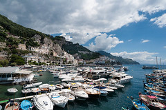 Amalfi Harbor (Ron Scubadiver's Wild Life) Tags: travel sea boats sky clouds nikon wide angle landscape seascape harbor 20mm amalfi italy outdoor
