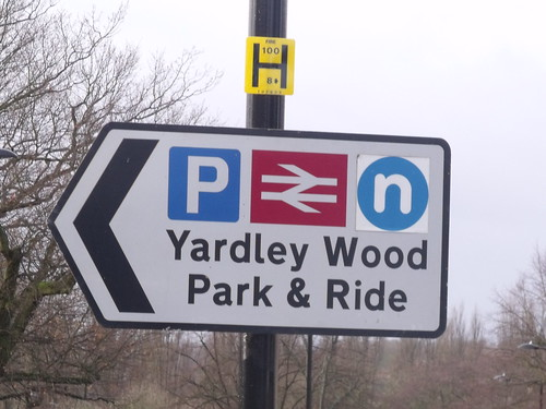 Yardley Wood Station - Highfield Road - Hall Green / Yardley Wood - sign - Yardley Wood Park & Ride