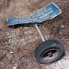 Attention Works (Rupert Brun) Tags: road sign island greek funny closed greece fallen works amusing attention paxos paxoi ionian knockedover