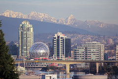 Science World and Cascade Mountains (MSPdude) Tags: bridge winter mountain canada tower vancouver creek canon bc granville britishcolumbia telephoto solstice dome condos geodesic cascade false scienceworld telus t2i