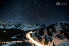 Mountain Snowcats And Winter Milk At Arapahoe Basin (Mike Berenson - Colorado Captures) Tags: winter sky snow mountains night stars colorado grooming skiresort sirius orion canismajor allrightsreserved summitcounty milkyway arapahoebasin snowcat skilifts skiruns registar coloradocaptures copyright2011bymikeberenson