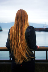 Come Back ... (MorgansPhotography) Tags: ocean black water hair out back long looking jacket blonde come railing leath