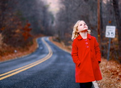 Searching. (Noelle Buske) Tags: road lighting street trees light red portrait girl up leaves woods nikon dof looking buttons coat jacket wander redcoat sear