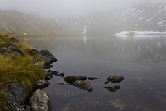 Misty Lake Angelus (3 photos) (NettyA) Tags: park new mist lake mountains reflection grass fog clouds rocks day hiking lakes nelson tent zealand alpine national nz tramping angelus tasmannz